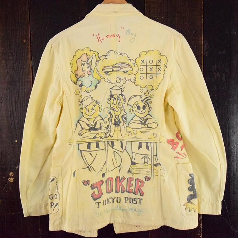 1940's US.NAVAL OFFICER'S ハンド刺繍&ハンドペイント メモリアルダブルブレストジャケット(USED)