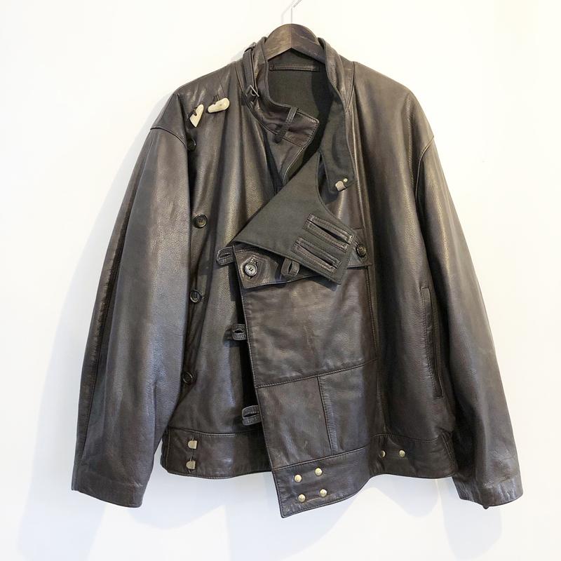 Type swedish military leather motorcycle jacket(Mac Douglas)