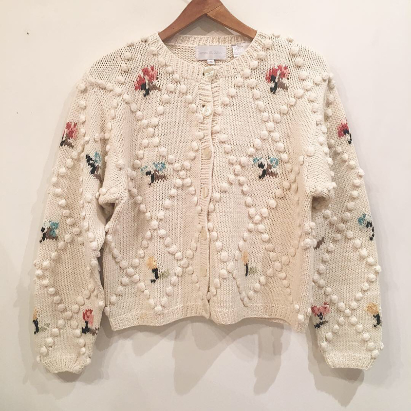 frower embroidery cotton cardigan(USED)