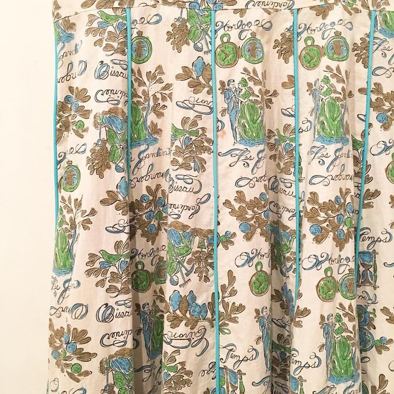 1960's vintage motif textile dress(USED)