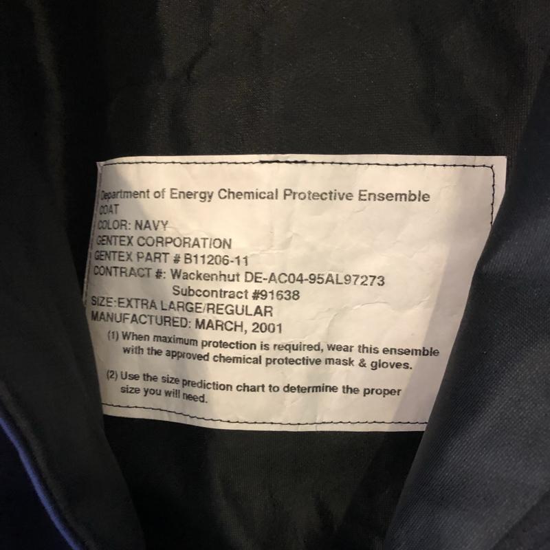 "2001's Chemical Protective Ensemble Coat ""NAVY""(U.S.Military)"