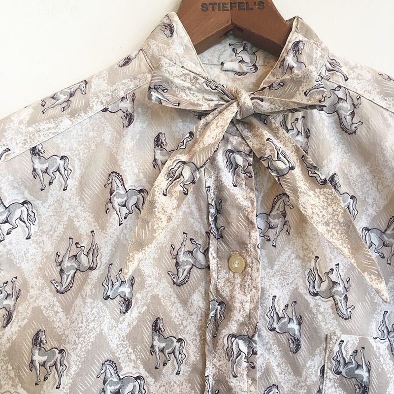 1960's vintage horse textile shirts(USED)