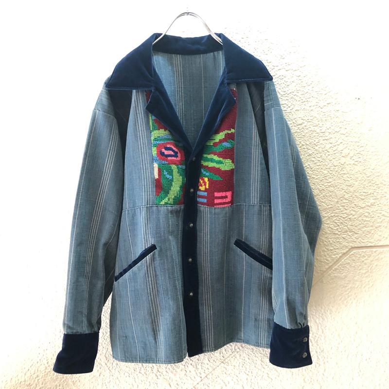 handmade denim opencollar shirt(unknown)