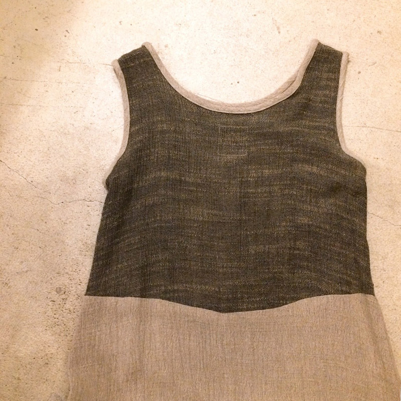 Patchwork sleeveless onepiece(USED)