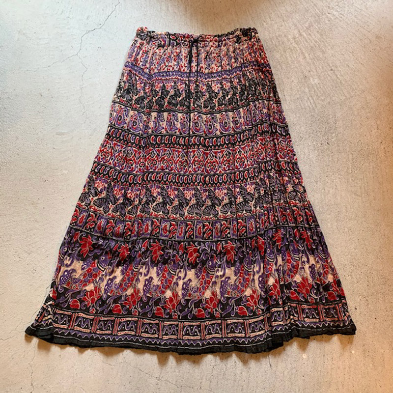 Butterfly pattern india cotton skirt(USED)
