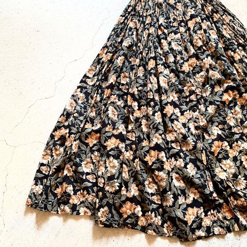 1980's vintage flower print india cotton dress(VINTAGE)