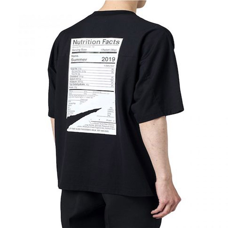 "HALF SLEEVE PRINT TEE ""Nutrition Facts""(Name.)"