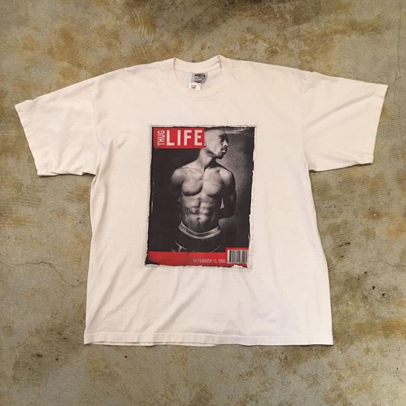 """90's~2PAC Tupac Shakur """"THUG LIFE"""" パロディTシャツ(USED)"""
